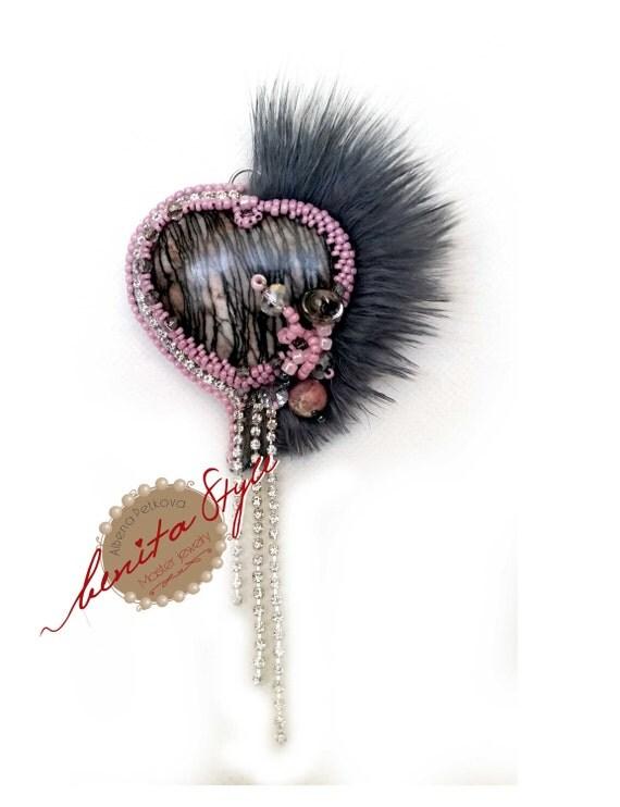 Bead Embroidery Brooch Rhodonite Furring, Beadwork Embroidery Brooch, Beaded Brooch Rhodonite, Bead Jewelry Brooch Rhodonite Pink-Grey,
