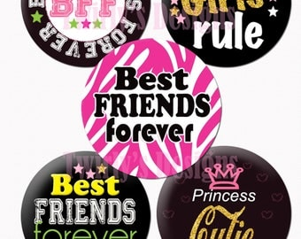 "BFF Best Friends Forever 1"" Bottle Cap Images - 4 X 6 Digital Collage Sheet BFF Cupcake topper Craft Supplies Hair bow center Necklace #5"