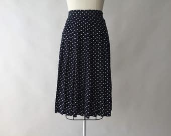 80s black & cream polka dot knife pleat silk skirt by BROOKS BROTHERS / L / 40s style