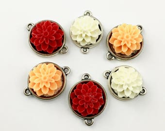 6 resin cabochon flowers connectors,silver tone ,18mm x 24mm,#CON004