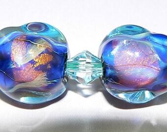 Handmade Lampwork Glass beads Earring Pair Blue Fire Opals SRA
