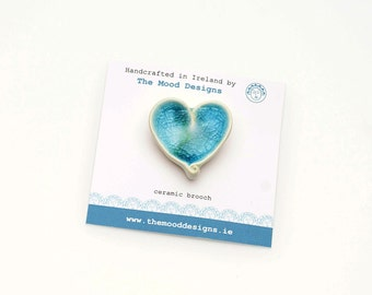 Heart Brooch Ceramic Brooch Blue Brooch Heart Pin Heart Jewelry Gift For Her Valentines Day Gift Valentine Brooch Heart Jewellery