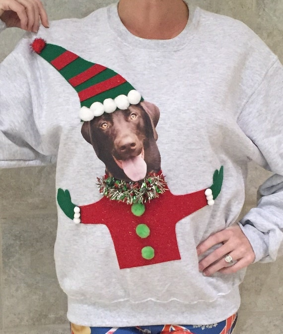 Elf Your Dog Ugly Christmas Sweater, Your dog on a tacky holiday sweater