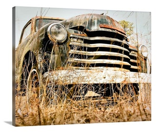"""Old Truck Photography, 16x20 Canvas, Chevy Truck, Vintage Chevrolet, Old Car, Wall Decor, Man Cave, Garage Art, Boys Room - """"Truckin'"""""""