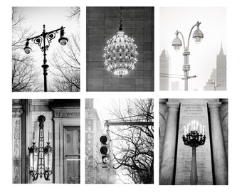 "New York Art, NYC Print, Set of 6, Art, Black and White Photography, Lights of NY, Urban Wall Decor, Architectural, Print Set- ""Light Me Up"""