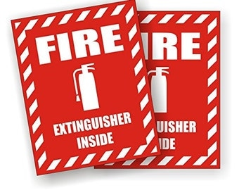 "Pair - Fire Extinguisher Inside RED - 3.75"" x 3"" Full Color Printed Vinyl Stickers - Hard Hat - Helmet - Phone - Laptop - Etc."
