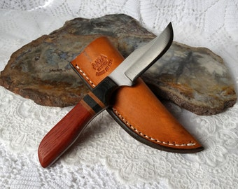 Hand Made Knife, Full Tang, Padauk Exotic Wood Handle, Made In USA, Mens Gift, High Carbon File Knife, Custom Name, Hand Made Leather Sheath