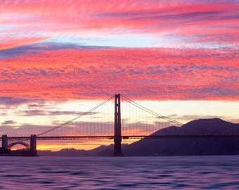 Photo of the San Francisco Bay and Golden Gate Bridge at Sunset - Pink and Vibrant Sunset - San Francisco Art - Golden Gate Bridge Print