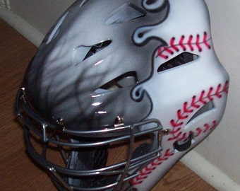 Airbrush Gray Flaming Baseball Catchers Helmet Rawlings adult or youth catchers mask new