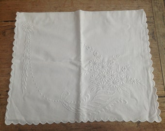 Vintage White Linen Large  Embroidered Nightie Case/ Storage/ Embroidered Daisies
