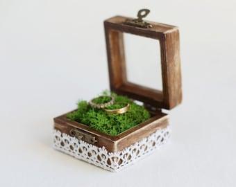 Rustic Wedding Ring Box With Moss - Glass Box, Ring Bearer Box, Shabby Chic Box, Moss Ring Pillow, Wedding Ring Box, Wedding Box, Ring Box