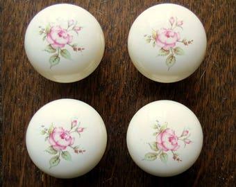 Vintage porcelain door knobs.  Set of four.  Vintage drawer knobs.  Porcelain cupboard knobs.  Ceramic drawer knobs.