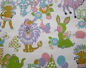 vintage Children's Wallpaper / unused double roll / 41 feet long