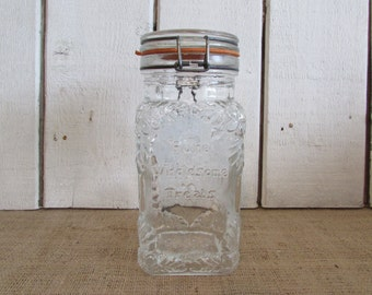 Hermetic Clear Glass Treat Jar Italy, Vintage Hermetic Glass Treat Jar, Hermetic Treat Jar Italy, Crownford Gift Ware Corp. Treat Jar 1980