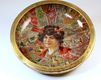 Folk Art Cigar Band Glass Bowl - Tramp Art Dish - Americana Tobacciana - Antique Hobo Art - Cigar Band Art