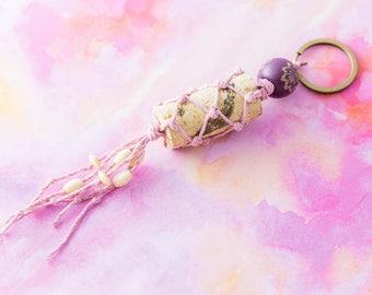 Recycled Wine Cork Macrame Beaded Tassel Keychain Light Purple, Wine Lovers Gift