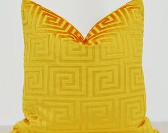 Yellow Velvet Pillow Cover,Patterned Velvet Pillow Cover,Greek Key Velvet Pillow Cover Velvet Pillow,Geometric Velvet Pillow Cove