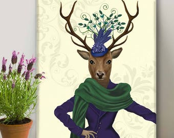 Print on canvas Home decor Canvas Print - Deer & Fascinator - deer art decor Deer print art Deer canvas art Deer decor Deer canvas print