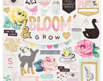 Maggie Holmes BLOOM Collection by Crate Paper, 12X12 Chipboard Shape Stickers