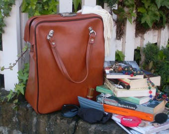 Vintage Brown Leather Holdall - Brown Leather Book Bag - Leather Tote Bag - Leather Bag - Leather Doctors Bag - Retro Brown Leather Bag
