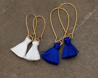 Silk Tassel Earrings - Pink Tassel Earrings - Black Tassel Earrings - Tassel Earrings - Global Inspired Earrings -Coral Tassel Earrings