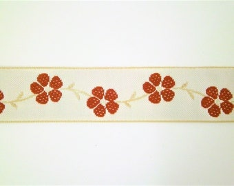 "1 m Woven Ribbon ""Vintage Flower"" 100 % cotton 25 mm w Dirndl Oktoberfest bavaria"