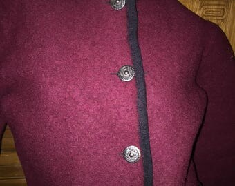 Bohemian Boho Austrian Nordic Wool Tiroler Sport Bergland Cropped Ski Resort Thick Red Black Jacket Cardigan Coat