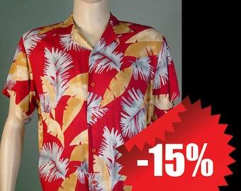 Vintage Maroon, Tan and Grey Hawaiian Shirt by Hutspah