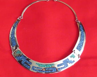 Vintage Mexican Sterling Silver/Turquoise Choker