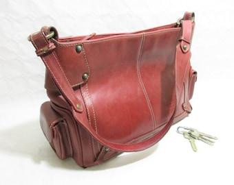 Vintage Claret Red Leather Shoulder Bag