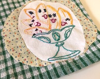 Happy Banana's - hand embroidered tea towel