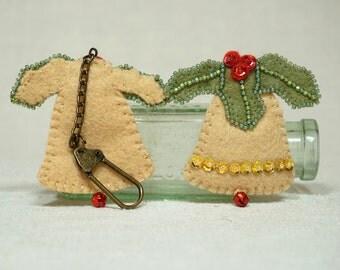 Wool Felt Christmas Bell Key Cain, Felt Bell Key Ring, Wool Felt Christmas Decoration *Ready to ship