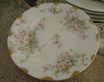 Antique Theodore Haviland Limoges France 4 Bread & Butter Plates ~~ Gilt Edge China ~~ Sweet French Country Floral