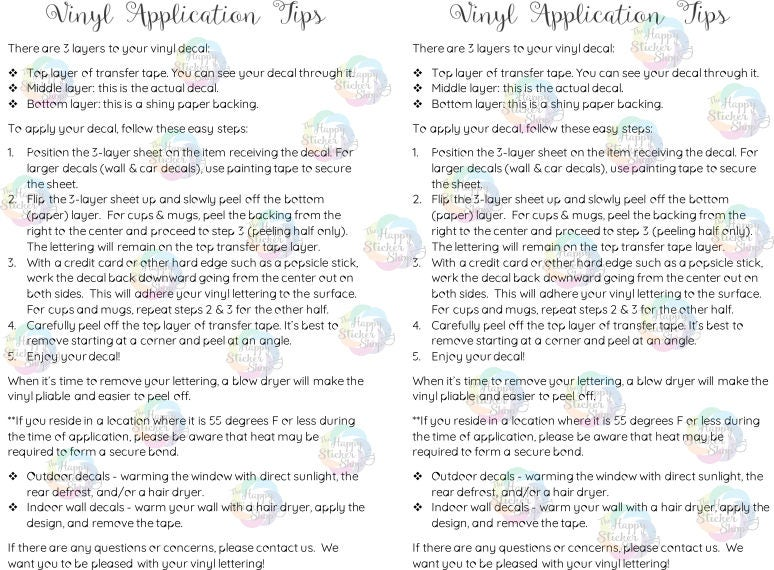 Vinyl Application Tips Digital Download Printable Application - Custom vinyl decal application instructions