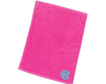 Personalized Hot Pink Golf Towel Monogrammed Embroidered