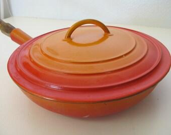 Descoware Frying Pan Enamel Cookware Orange Enamel Frypan Cast Iron