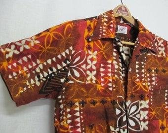 Hawaiian Bark cloth Shirt Sears Hawaiian Shirt 1960 Hawaiian Shirt Large