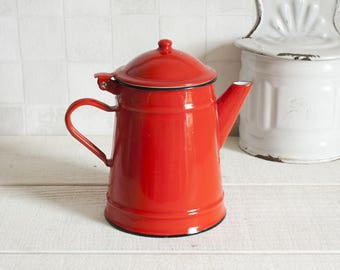 Vintage little red enamel coffee pot - French mid century Coffee pot or teapot