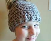 Crochet Messy Bun/Ponytail Hat made with Chunky Yarn
