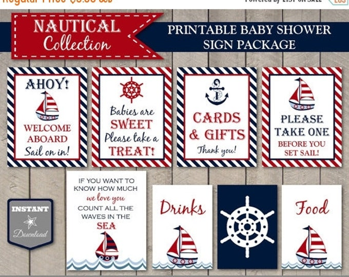 SALE INSTANT DOWNLOAD Printable Nautical Baby Shower Sign Package / 5x7 / 8x10 / Welcome / Gifts / Favors / Nautical Boy Collection / Item #