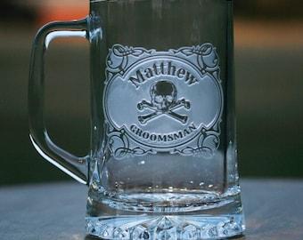 Groomsman, Best Man, Skull and Cross Bones Beer Mug Glass, Engraved - Set of 4 (M85Beer4)
