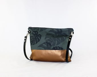 Monstera copper Crossdiv bag with leather handles