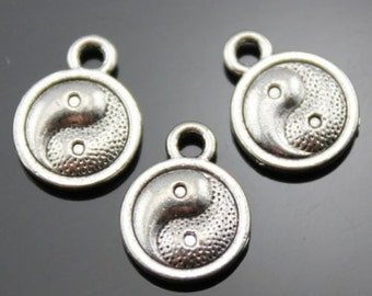 20 x Double Sided Antique Silver Tone Chinese Yin Yang Symbols Charms 10mm - Perfect for Jewellery Making. Bracelets, Earrings & Necklaces.