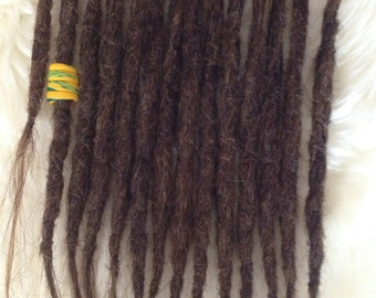 14 natural Dreadlock extensions - Mixed brown blonde - Real human hair incl dread pearl. Crochet knotty