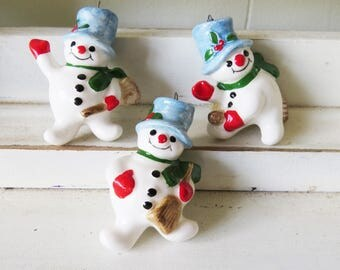 Vintage Fitz and Floyd Snowman Ornaments- 3 Snow Men