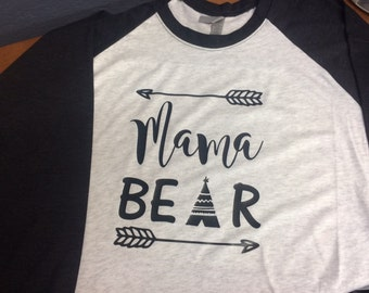 Mama Bear V-Neck or Crew Neck T- Shirt