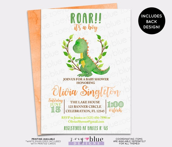 Dinosaur Baby Shower Invitation Trex Watercolor Baby Shower Invite