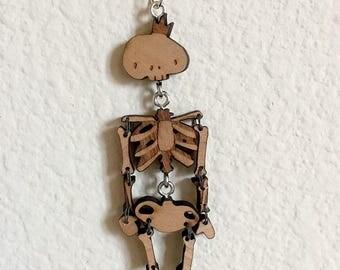 King Skeleton Wooden Necklace