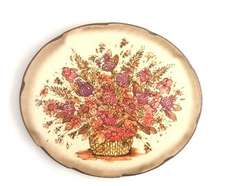 Vintage 1970s Wall Decor Floral Retro Decoration Flower Bouquet Pink Purple Basket Hanging Spring Flowers