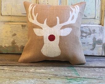 Rudolph Burlap Pillow | Rudolph Pillow | Reindeer Pillow | Christmas/Holiday decor | Christmas pillow | Christmas Gifts | sparkle pillow